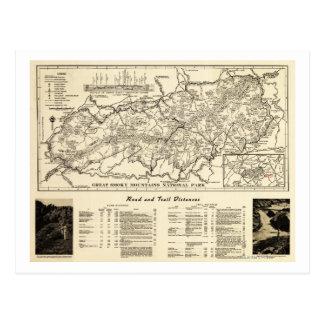 Mapa del parque nacional de Great Smoky Mountains Postal