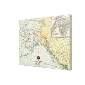 Mapa del paso y ruta y conexiones blancos del Yukó Lienzo Envuelto Para Galerías