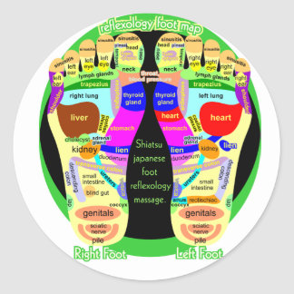 mapa del pie del reflexology pegatina redonda