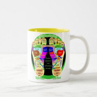 mapa del pie del reflexology taza de café de dos colores