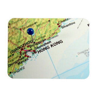Mapa del Pin de Hong Kong Iman Rectangular