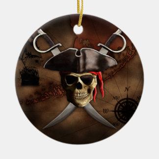 Mapa del pirata adorno navideño redondo de cerámica