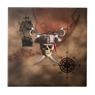 Mapa del pirata azulejo cuadrado pequeño