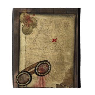 Mapa del pirata del vintage, monedas de oro y apar