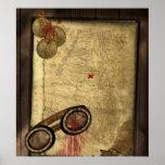 Mapa del pirata del vintage, monedas de oro y apar impresiones