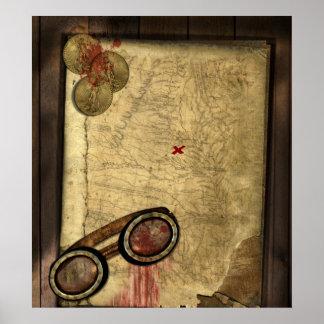 Mapa del pirata del vintage, monedas de oro y apar póster