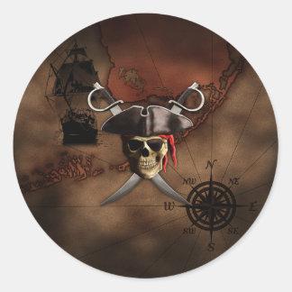 Mapa del pirata etiqueta