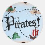 Mapa del pirata etiquetas redondas