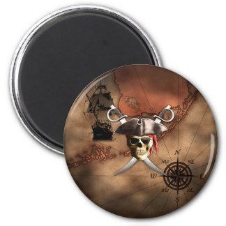 Mapa del pirata imán redondo 5 cm