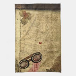 Mapa del pirata, monedas de oro y toalla de mano