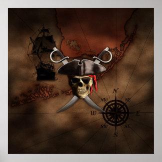 Mapa del pirata impresiones