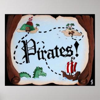 Mapa del pirata posters