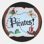 Mapa del pirata pegatinas redondas
