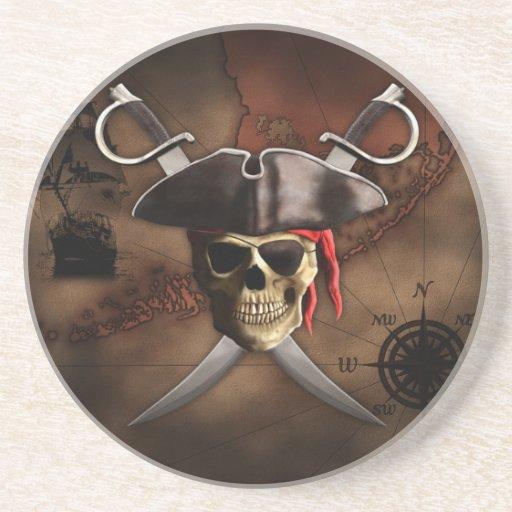 Mapa del pirata posavaso para bebida