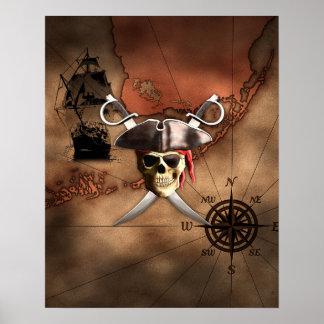 Mapa del pirata póster