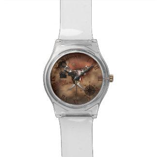 Mapa del pirata reloj de mano