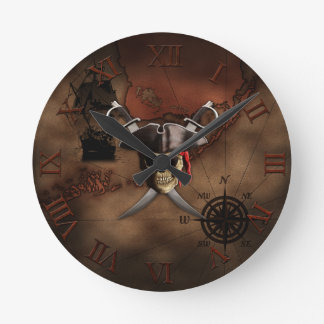 Mapa del pirata reloj redondo mediano