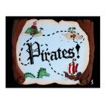 Mapa del pirata tarjetas postales