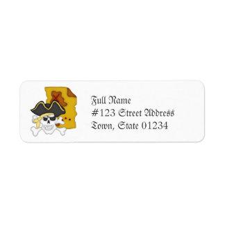 Mapa del pirata y etiquetas de correo de la bander etiqueta de remite