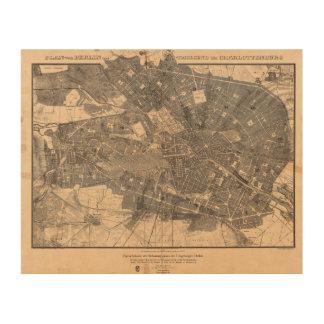 Mapa del plan de desarrollo de Berlín Alemania en Impresiones En Madera