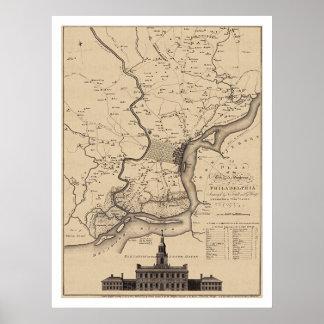 Mapa del plan de Philadelphia - 1777 Poster