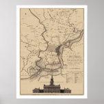 Mapa del plan de Philadelphia - 1777 Póster