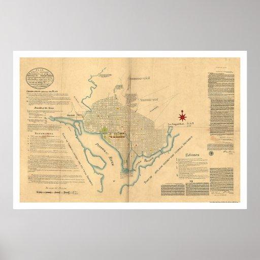 Mapa del plan del Washington DC por L'Enfant 1791 Posters