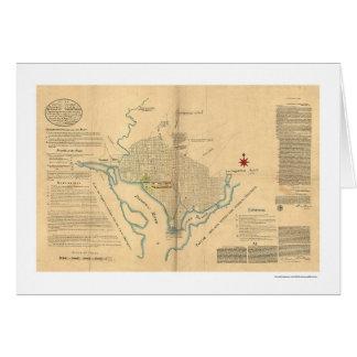 Mapa del plan del Washington DC por L'Enfant 1791 Tarjeta De Felicitación