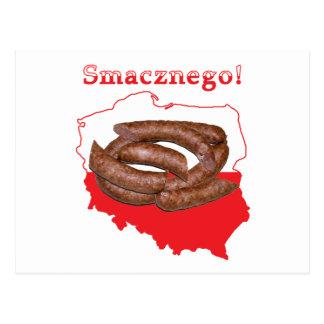 Mapa del polaco de Kielbasa Smacznego Tarjetas Postales