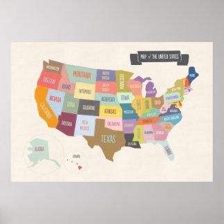 Mapa del poster de los E.E.U.U. XL Póster