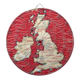 Mapa del poster del rojo del vintage de Reino