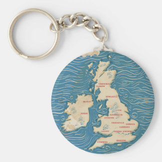 Mapa del poster del vintage de Reino Unido Llavero Redondo Tipo Pin