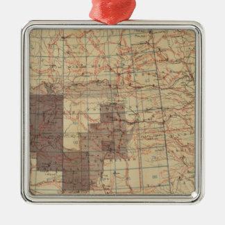 Mapa del progreso 1876 de las encuestas sobre adorno navideño cuadrado de metal