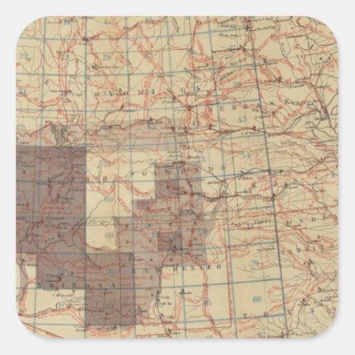 Mapa del progreso 1876 de las encuestas sobre pegatina cuadrada