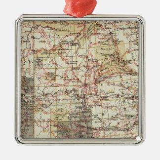 Mapa del progreso 1878 de las encuestas sobre adorno navideño cuadrado de metal