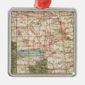 Mapa del progreso 1880 de las encuestas sobre adorno navideño cuadrado de metal