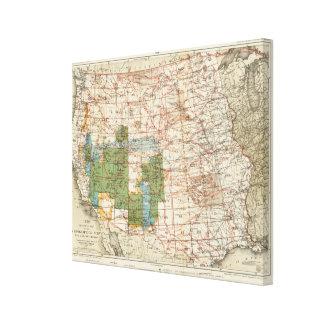 Mapa del progreso 1880 de las encuestas sobre geog impresión en lona estirada