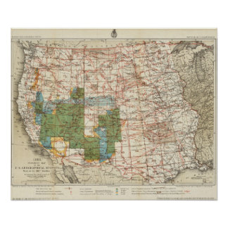 Mapa del progreso 1880 de las encuestas sobre geog póster