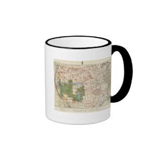 Mapa del progreso 1880 de las encuestas sobre geog tazas de café
