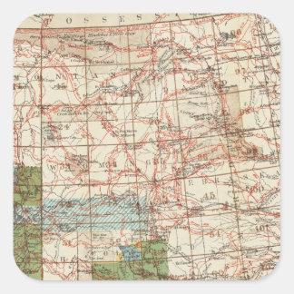 Mapa del progreso 1880 de las encuestas sobre pegatina cuadrada