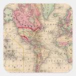 Mapa del proj de Mercator del mundo de Mitchell Pegatina Cuadrada