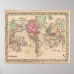 Mapa del proj de Mercator del mundo de Mitchell Póster