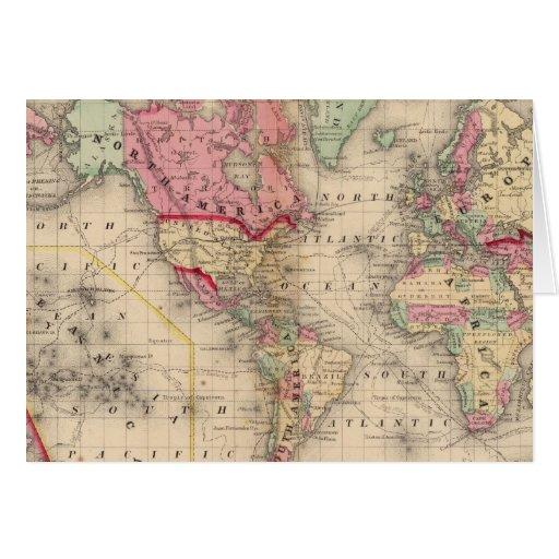 Mapa del proj de Mercator del mundo de Mitchell Tarjeta De Felicitación