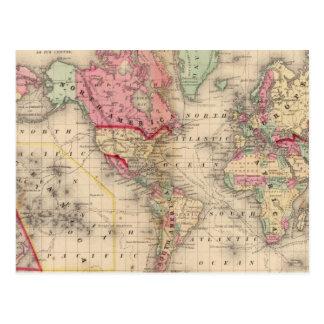 Mapa del proj de Mercator del mundo de Mitchell Postales