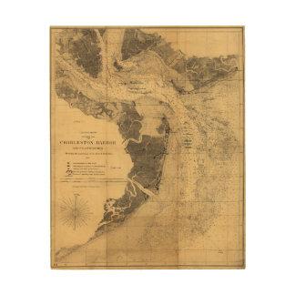 Mapa del puerto Carolina del Sur (1863) de Impresión En Madera
