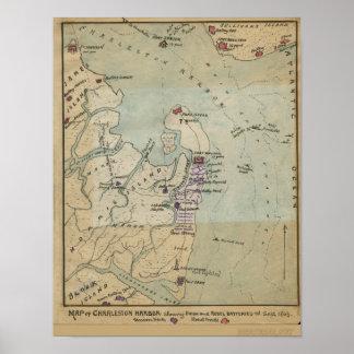 Mapa del puerto de Charleston Póster