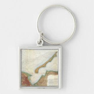 Mapa del puerto de Nantucket del vintage Llavero
