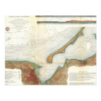 Mapa del puerto de Nantucket del vintage Tarjetas Postales