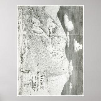 Mapa del rastro de la montaña 1949 de la espina póster