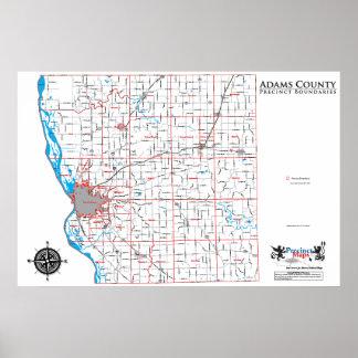 Mapa del recinto del condado de Adams Posters
